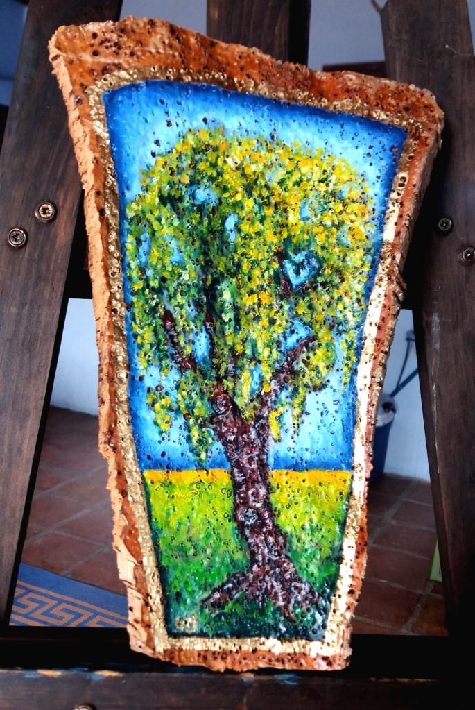 Flowering oak tree painted in oils on cork